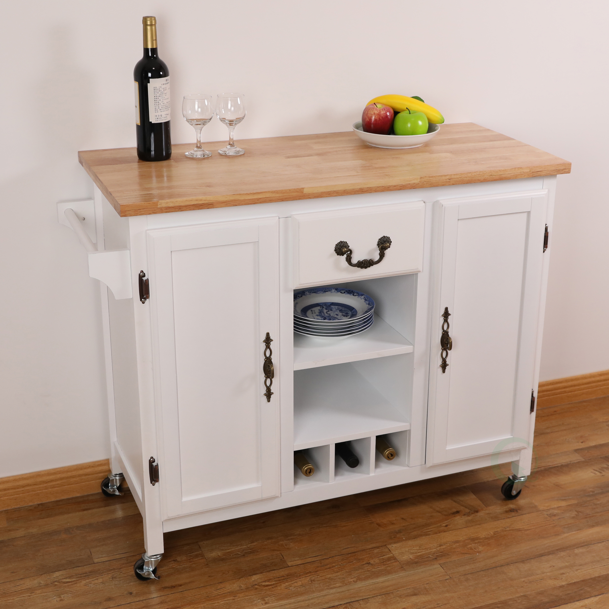 Details about New Large Wooden Kitchen Island Trolley with Heavy Duty  Rolling Casters