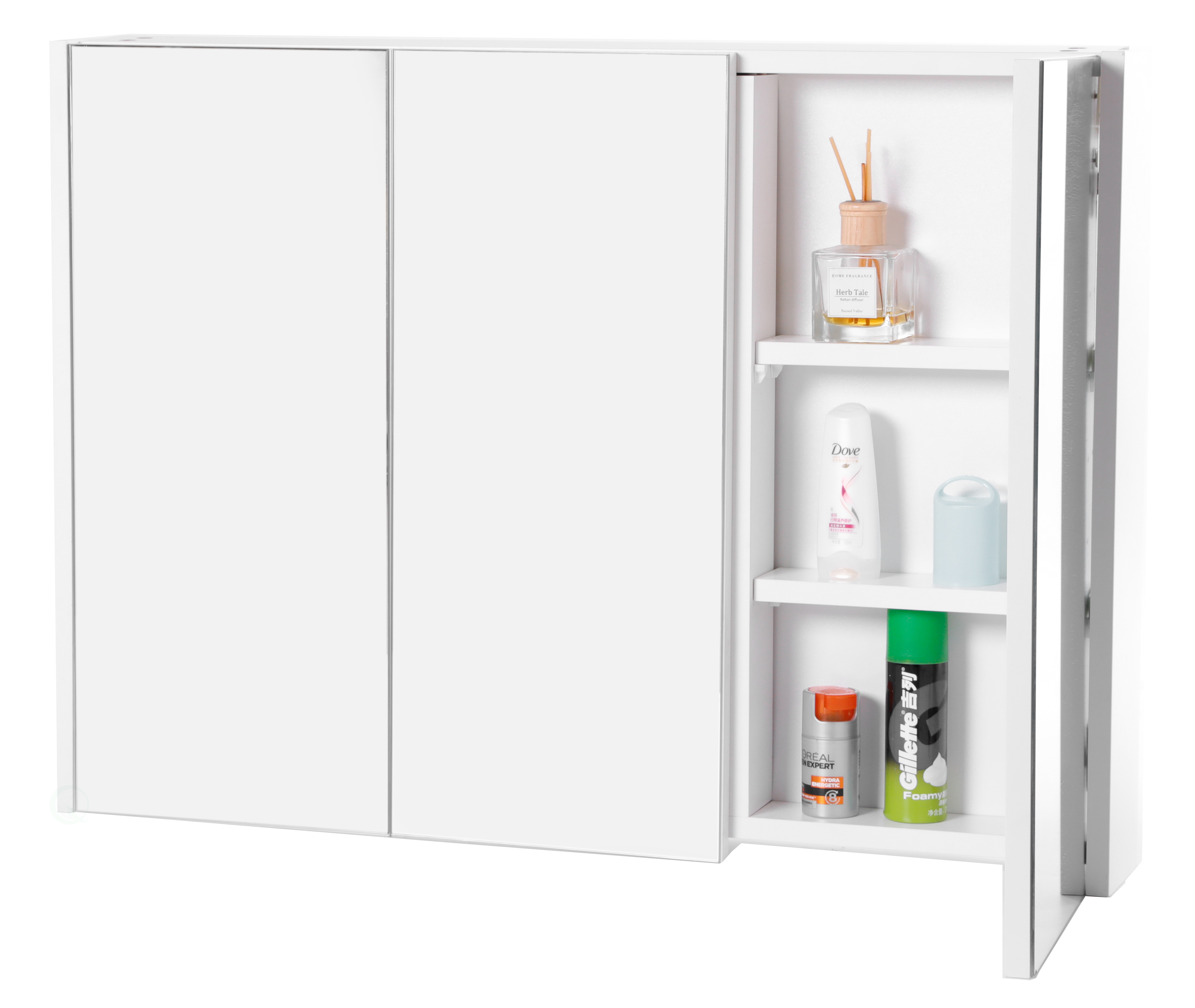 Details About 3 Shelves White Wall Mounted Bathroom Powder Room Mirrored Door Vanity Cabinet