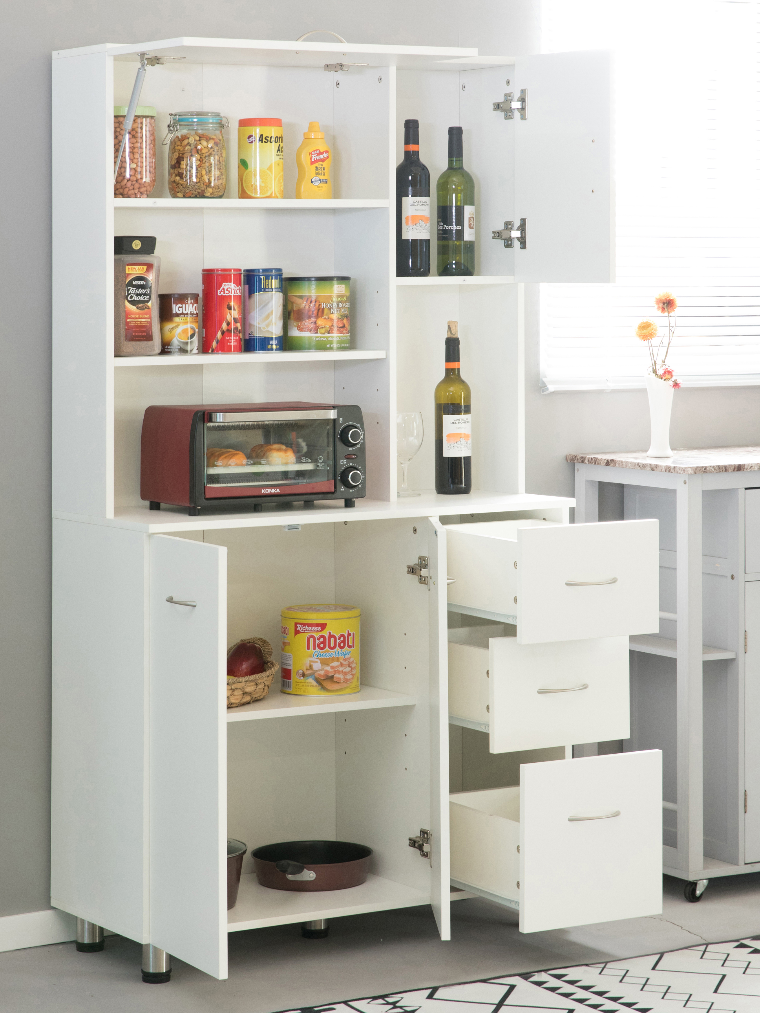 New Basicwise Kitchen Pantry Storage Cabinet with Doors ...